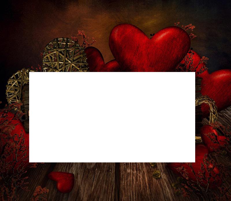 marco de madera de corazones rojos - Marco de madera de corazones rojos