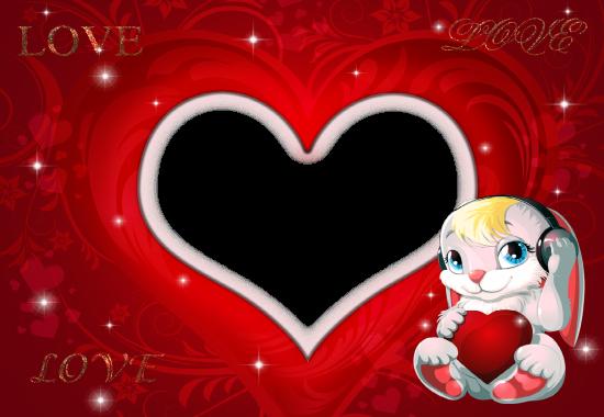 romantic bunny love photo frame - romantic bunny love photo frame