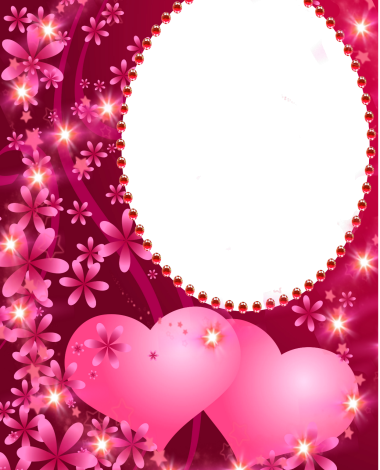 two pink hearts love photo frame 380x470 - two pink hearts love photo frame