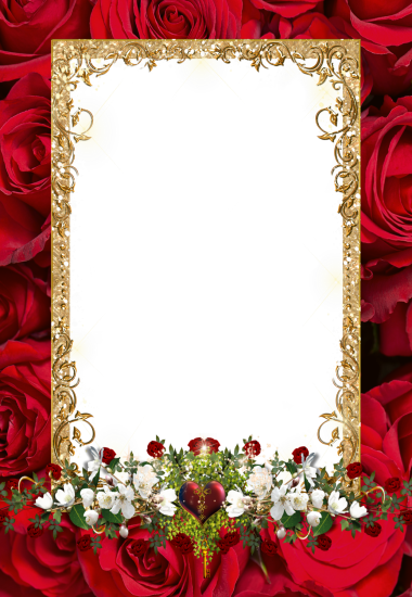 white and red flowers love photo frame - white and red flowers love photo frame