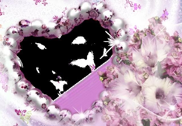 Marco de fotos de corazon morado en flor - Marco de fotos de corazón morado en flor
