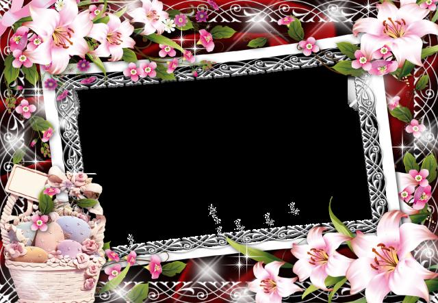 Marco de fotos romantico canasta de flores - Marco de fotos romántico canasta de flores