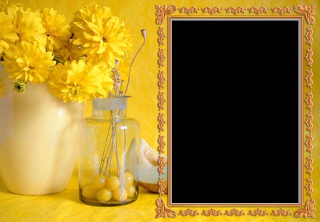 marco de fotos amarillo con ramo de rosas amarillas - marco de fotos amarillo con ramo de rosas amarillas