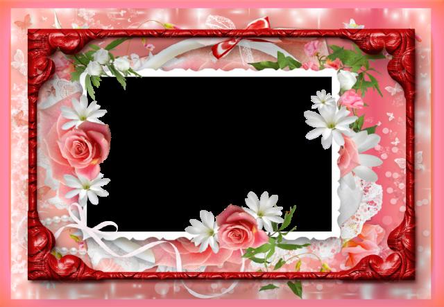 marco de fotos romantico de flores rojas - marco de fotos romántico de flores rojas