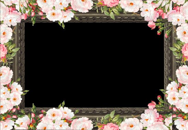 marco de fotos romantico de flores rosadas blancas - marco de fotos romántico de flores rosadas blancas