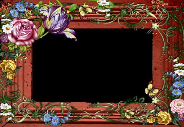 marco de fotos romantico de madera con flores de colores - marco de fotos romántico de madera con flores de colores