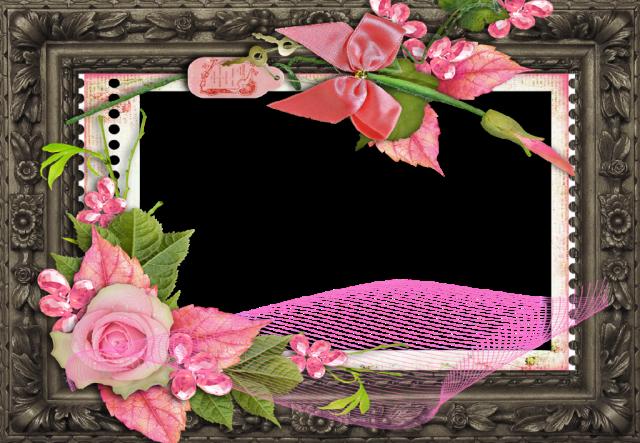 marco de fotos romantico de madera y flores - marco de fotos romántico de madera y flores