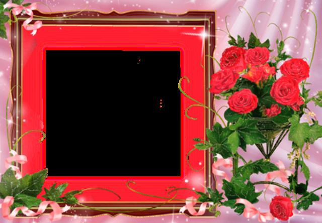 marco de fotos rosa con ramo de flores rojas - marco de fotos rosa con ramo de flores rojas