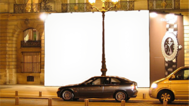 Photo of marco publicitario de la foto de la cartelera de la calle