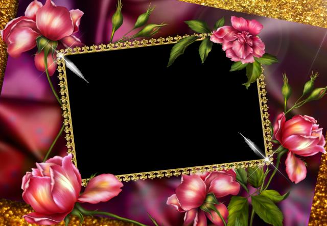 El marco dorado y el romantico marco de fotos de rosas rojas. - El marco dorado y el romántico marco de fotos de rosas rojas.