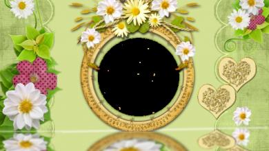 Photo of el romántico círculo dorado y el marco de fotos de rosas blancas