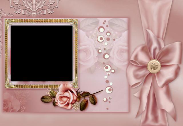 marco de fotos color cafe con lazo romantico - marco de fotos color café con lazo romántico