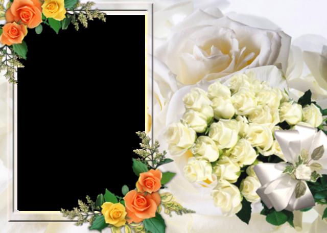 marco de fotos de flores romanticas - marco de fotos de flores románticas
