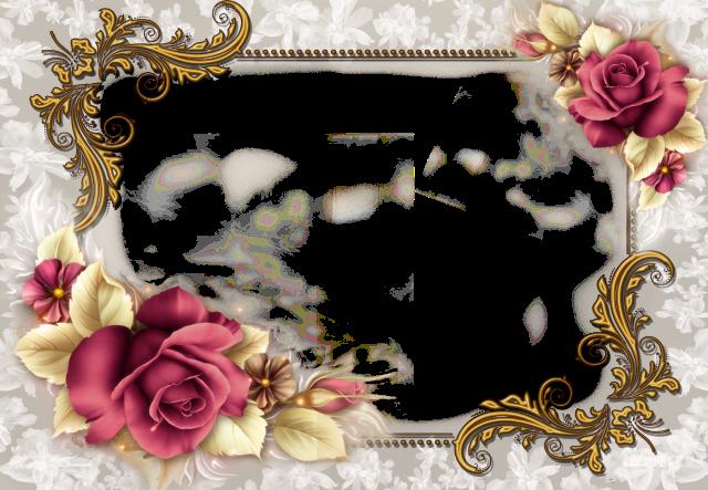 marco de fotos plateado decorado con romanticas dos rosas - marco de fotos plateado decorado con románticas dos rosas
