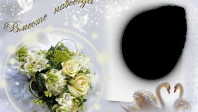 Photo of el marco de fotos de pájaros blancos para la foto de la boda