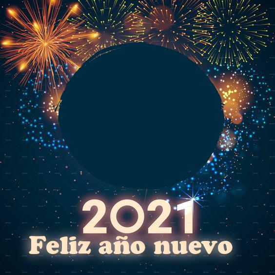 feliz ano nuevo 2021 marco de fotos de fuegos artificiales - feliz año nuevo 2021 marco de fotos de fuegos artificiales