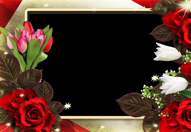 marco de fotos cuadrado con flores rojas romanticas - marco de fotos cuadrado con flores rojas románticas